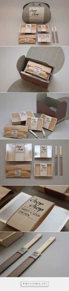 Packaging idea - holder into placemat. Chop Chop - Chinese takeaway packaging for two on Behance by Charlotte Warren curated by Packaging Diva PD. Looks like its Chinese for lunch : ) Packaging Box Design, Takeaway Packaging, Branding And Packaging, Food Branding, Cool Packaging, Branding Design, Packaging Boxes, Product Packaging, Package Design