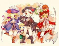 BTT with their kids. France with Canada, Prussia with Germany, and Spain with Romano.