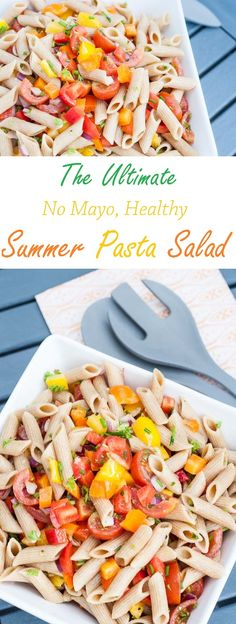 Healthy Summer Pasta Salad Recipe without Mayo | VeganFamilyRecipes.com | #bbq #vegan #vegetarian #eat clean #recipes #vegetables