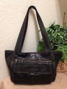 d563da4e44a6 Fossil Vintage Black Genuine Leather Messenger Shoulder Handbag Satchel Bag  VGC