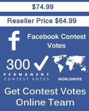Buy 300 Facebook Application Votes at $64.49 Votes from different USA IP Address Votes from Real Look Facebook Profiles. #buyonlinevotes #buycontestvotes #buyfacebookvotes #getonlinevotes #getcontestvotes #buyvotesforonlinecontest #buyipvotes #getbulkvotes