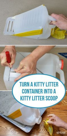 Save money and make your own kitty litter scoop using an old plastic kitty litter bottle! This DIY is a great way to recycle and reuse somethnng you normally would just toss! http://www.ehow.com/how_12343779_turn-kitty-litter-container-kitty-litter-scoop.html?utm_source=pinterest.com&utm_medium=referral&utm_content=freestyle&utm_campaign=fanpage