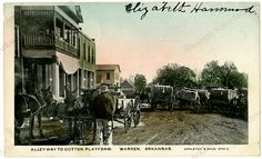 Alleyway to cotton platform in Warren Arkansas, sent on May 24, 1907 G4459