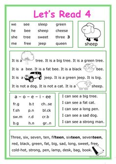 This worksheet is for Elementary school students at Beginner level who learn reading and their vocabulary is not too big. The worksheet is good for developing Reading and Writing skills with letters ee.There are 5 exercises for training. Phonics Reading, Reading Comprehension Worksheets, Teaching Phonics, Reading Passages, Kindergarten Reading, Teaching Reading, Reading Practice, Reading Skills, Writing Skills