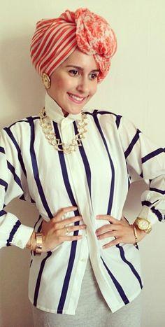 Dina Tokio #DinaTokio bold and beautiful in stripes.  Get beautiful hijabs to wear your own turban style at www.Jannahgifts.com