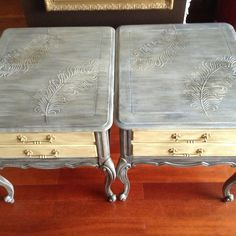 French Provincial restoration hardwood end tables can also be used as night tables. Can be purchased through Etsy  or Facebook  $540 for the pair