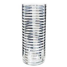 Vase à rayures en verre argent H 30 cm   Maisons du Monde
