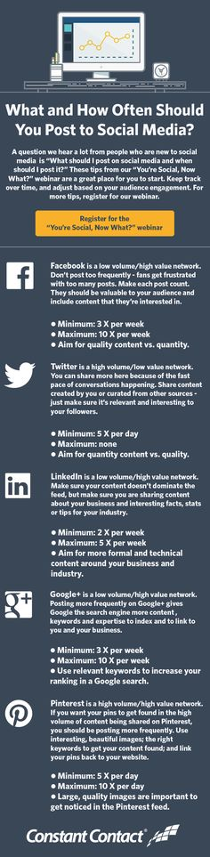 "A question we hear a lot from people who are new to social media is ""What should I post on social media and when should I post it?"" Start with these tips and learn more best practices for #Facebook #Twitter #LinkedIn #Pinterest and #Google+ in our ""You're Social, Now What?"" webinar http://blogs.constantcontact.com/event/youre-social-now-6/"