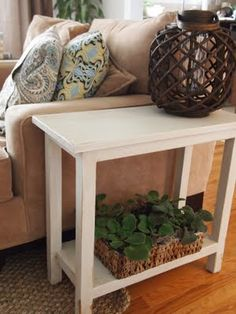 DIY narrow end table.........aged white............ use Behr Twilight Gray before sanding and roughing up the edges and legs......then glaze with Early American stain before the final poly coat.