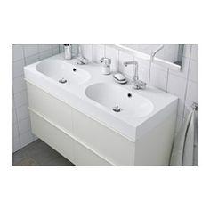 "BRÅVIKEN Double bowl sink, white - white - 47 1/4x19 1/4x3 7/8 "" - IKEA"