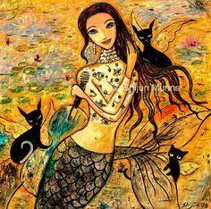 Mermaid art print: Lotus Pool Mermaid-golden giclee print by Shijun Munns-Art gift-Fantasy wall art-Oil painting print Owl, Painting Prints, Art Prints, Notebooks For Sale, Thing 1, Great Paintings, Cat Cards, Mermaid Art, Art Store
