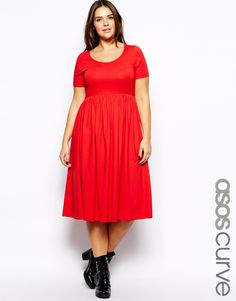 Plus size dress by ASOS CURVE Made from a stretch cotton jersey. Breathable soft touch fabric. Scoop neckline. Fit and flare shape. Midi length cut. Regular fit.
