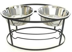 Bone Raised Double Dog Bowl - Medium-Black