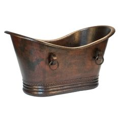 This lovely copper bathtub is carefully constructed of recycled materials. Double handles on the side add a vintage look.
