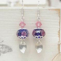 Boucles d'oreilles romantiques, argent massif, perles bleu nuit, cristal swarovski rose, ref boag7