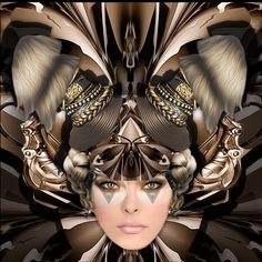 "Metal butterfly Masque - 16"" x 16"" Digital Painting by ©E.Trostli"