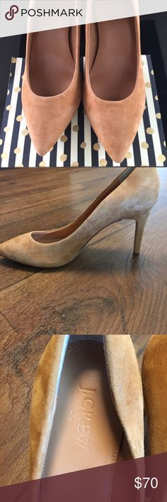 J Crew Elsie Suede Pumps These J Crew Mustard pumps are a staple piece in any collection. Suede material with a 3 1/2 inch heal, so they very wearable. They have been worn, but with the upmost care. Condition  shown in pictures provided. J. Crew Shoes Heels