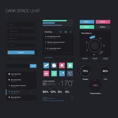 Dark Space UI Kit by Aurélia Folch, via Behance