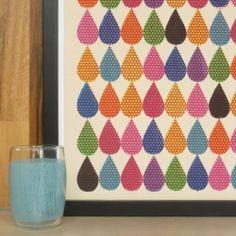 droplets - original multi coloured screenprint. £28.00, via Etsy.