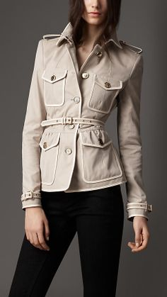 Leather Detail Cotton Gabardine Jacket | Burberry