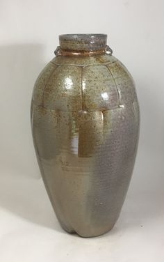 REDUCED Tall Shino Bottle Vase, Wood-fired Stoneware by NC potter David Voorhees