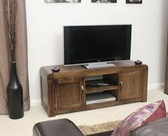 Buy the Solid Walnut Widescreen TV Unit - Shiro from Baumhaus today! A part of our Living Room Storage Furniture range. Tv Cupboard, Cupboard Storage, Media Storage Unit, Television Cabinet, Living Room Storage, Living Rooms, Tv Cabinets, Living Furniture, Tv Unit