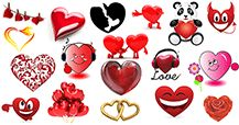 This gallery features an array of expressive hearts for you to use on Facebook.