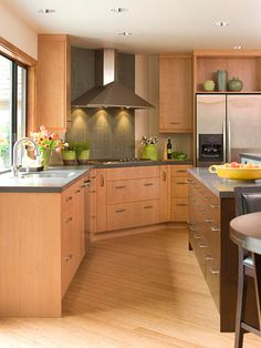 Flat front kitchen cabinets google search kitchen for Can you change the color of bamboo flooring
