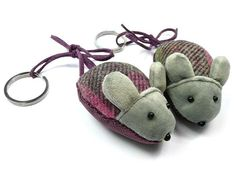 Mouse Keyring - Hawthorn Tweed Fair Trade Jewelry, Jewelry Roll, Tweed, Baby Shoes, Rolls, Velvet, Jewellery, Personalized Items, Pattern