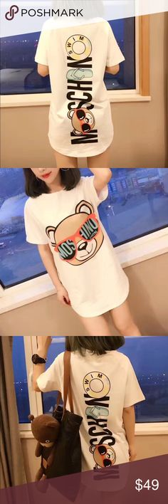MOSCHINO Sunglass Teddy Long Tee 😍🐻 Order now on Poshmark ♥️  Women's sizes are available only (S-L).  Fitted or worn oversized.  For sizing inquiry please email dandyshop17@gmail.com Moschino Tops Tees - Short Sleeve