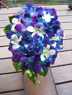 blue purple white orchid wedding bouquet