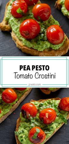 A twist on the classic tomato crostini with vibrant pea pesto! This pea recipe combination makes for a perfect and refreshing summer dish. #peapesto #tomatocrostini #pestocrostini #appetizerrecipes #snackrecipes Pea Recipes, Supper Recipes, Sweets Recipes, Drink Recipes, Appetizers For Party, Appetizer Recipes, Friend Recipe, Party Dishes, Kitchen