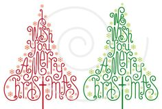 Christmas trees with hand-drawn letters, Christmas, Xmas, card, word art, handwritten, print, printable, digital clipart, vector, download