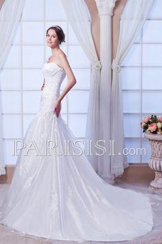 vestidos de novia Sin tirantes Elegante Moderno Glamouroso Sin Mangas Blanco Organza Encaje Hasta Suelo