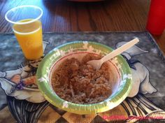 Oatmeal with brown sugar and a glass of OJ.  (I also had a banana with PB)  #veganbreakfast #vegan #genkikitty
