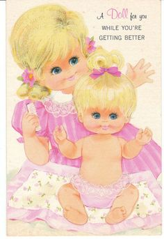 Vintage Greeting Card Paper Doll Baby Get Well Gibson Paperdoll 1960s - I loved paper doll greeting cards as a kid!