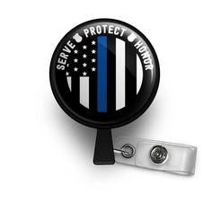 Thin Blue Line Serve Protect Honor Retractable ID Badge Reel