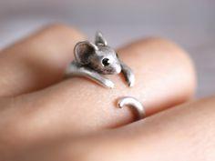 Verstellbarer Silberring mit kleiner Maus / cute silver ring with mouse via DaWanda.com