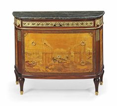A FRENCH ORMOLU-MOUNTED ROSEWOOD, AMARANTH, CITRONNIER AND SYCAMORE DEMI-LUNE COMMODE -  LATE 19TH CENTURY