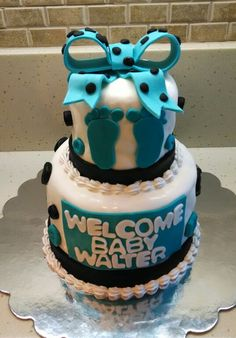 Leslie's baby shower cake for baby Walter! Gluten free chocolate cake with a fresh strawberry and cream cheese filling!