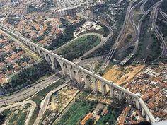 Aqueduto das Águas Livres de Lisboa Visit Portugal, Portugal Travel, Spain And Portugal, Iberian Peninsula, World Cities, Travel And Leisure, Aerial View, Portuguese, Bridges