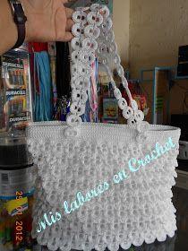 Mis labores en Crochet: Bolsa de escamas con fichas (lacres) de plástico
