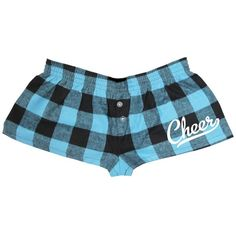 Adult Female Light Blue and Black Checked Printed Cheer Bitty Boxers... ($24) ❤ liked on Polyvore
