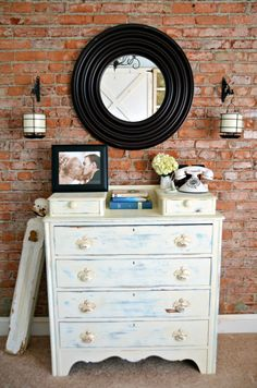 Whitewashed floors furniture on pinterest whitewash for Distressed brick wall mural