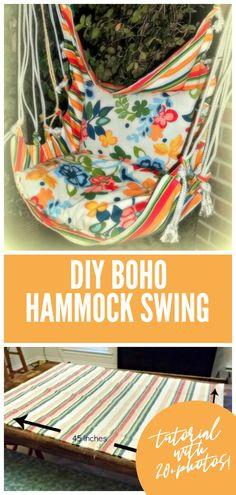 DIY hammock swing tutorial - It's so easy to make your own boho hammock swing@ - Diy swing - Hammock In Bedroom, Diy Hammock, Hammock Swing Chair, Hanging Hammock, Swinging Chair, Diy Hanging, Hammocks, Diy Canopy, Diy Bedroom