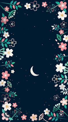Night sky moon stars blue