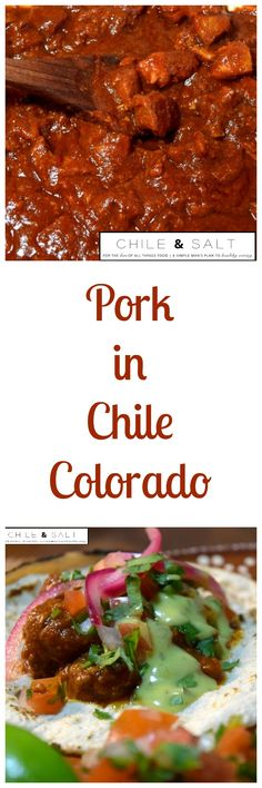 Pork in Chile Colorado, rich, smoky, spicy, meaty goodness  cooked low & slow in a mix of beef stock, dried chiles, spices & tomato paste until melt in your mouth tender.