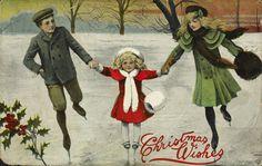 Christmas Wishes [Family Skating] [Christmas postcard], 1917