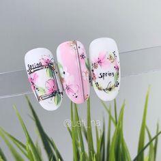 Rose Nail Art, Rose Nails, Flower Nail Art, Cherry Blossom Nails, Cherry Nails, Aqua Nails, Gel Nails, Stiletto Nails, Acrylic Nails