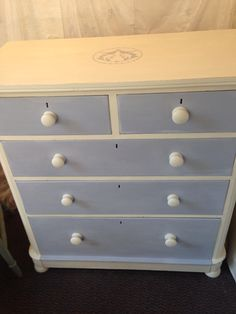 Old Victorian chest of drawers in Annie Sloan- Louis blue drawers & old white
